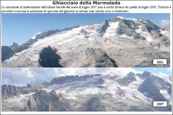 Il calo del ghiacciaio della Marmolada-confronto2005-2007.jpg