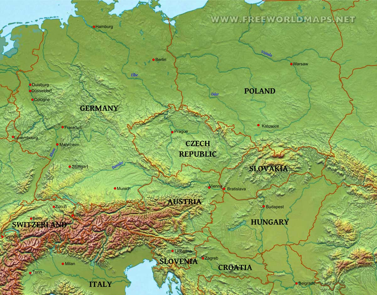 Quali sono le medie nevose 1961-90 o 1971-00 di Vienna, Budapest e Praga?-centraleurope-physical-map.jpg
