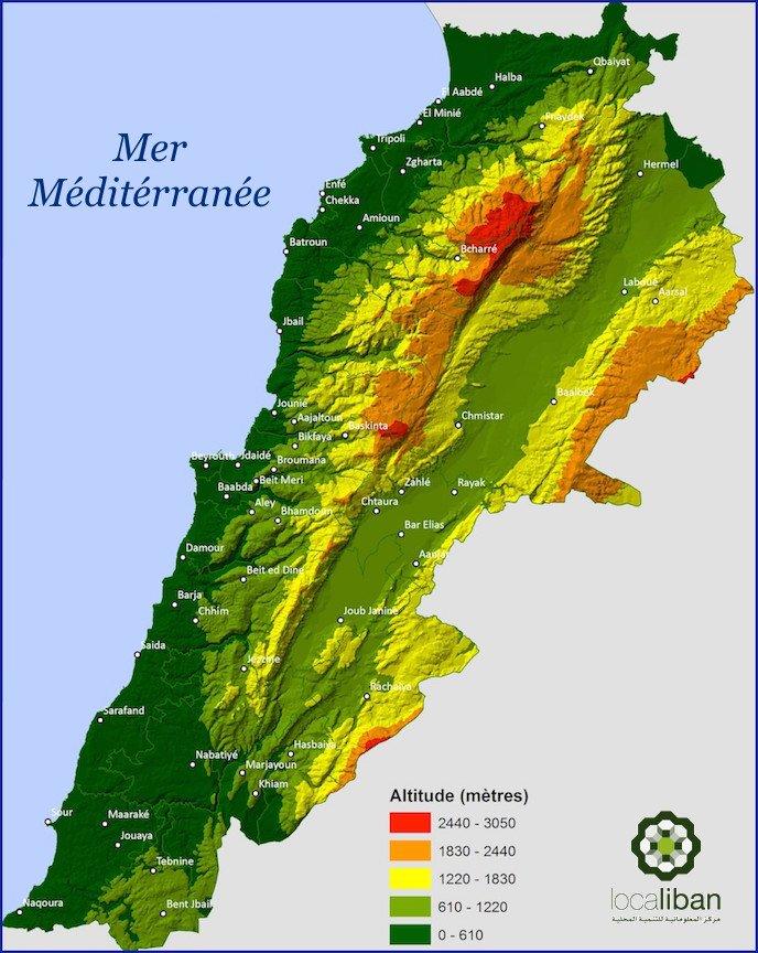 Catena del Libano - Situazione neve attraverso le stagioni-relief_du_liban.jpg